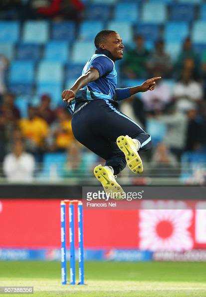 Fidel Edwards of Leo Lions celebrates taking the wicket of Rory Kleinveldt of Capricorn Commanders during the Oxigen Masters Champions League 2016...