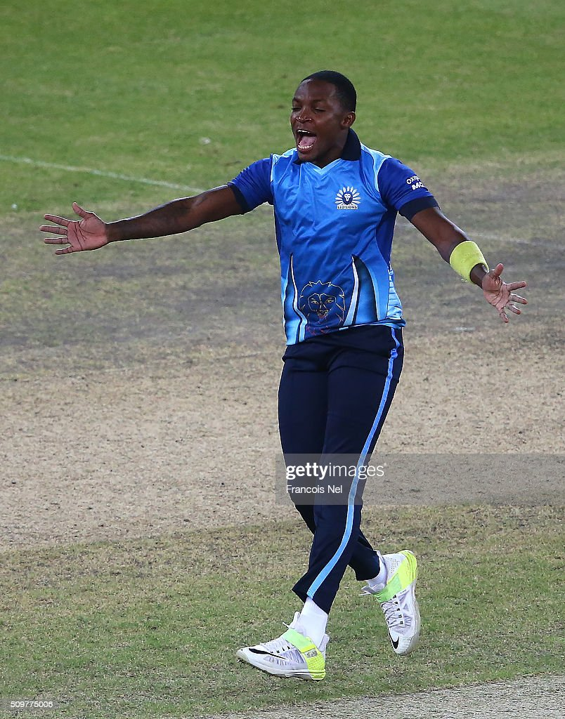 <a gi-track='captionPersonalityLinkClicked' href=/galleries/search?phrase=Fidel+Edwards&family=editorial&specificpeople=217762 ng-click='$event.stopPropagation()'>Fidel Edwards</a> of Leo Lions celebrates the wicket of Humayun Farhat of Virgo Super Kings during the Oxigen Masters Champions League Semi Final match between Leo Lions and Virgo Super Kings at Dubai International Cricket Stadium on February 12, 2016 in Dubai, United Arab Emirates.