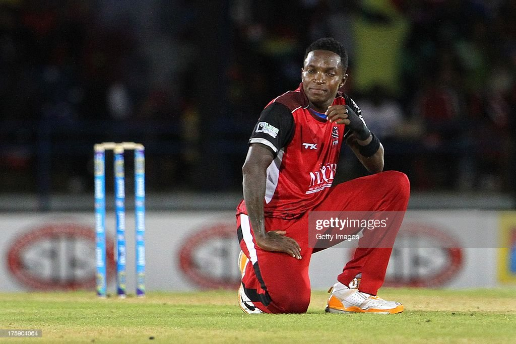 <a gi-track='captionPersonalityLinkClicked' href=/galleries/search?phrase=Fidel+Edwards&family=editorial&specificpeople=217762 ng-click='$event.stopPropagation()'>Fidel Edwards</a> of Trinidad and Tobago Red Steel reacts to a four during the Eleventh Match of the Cricket Caribbean Premier League between Trinidad and Tobago Red Steel v Guyana Amazon Warriors at Queen's Park Oval on August 9, 2013 in Port of Spain, Trinidad and Tobago.