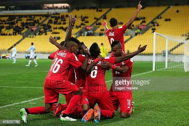 Fidel Escobar of Panama celebrates his goal with teammates during the Group B FIFA U20 World Cup New Zealand 2015 match between Argentina and Panama...