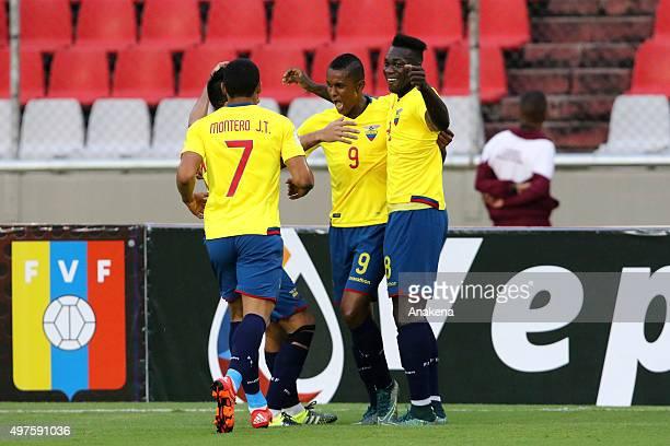 Fidel Martinez Jefferson Montero and Felipe Caicedo of Ecuador celebrate the third goal of their team during a match between Venezuela and Ecuador as...