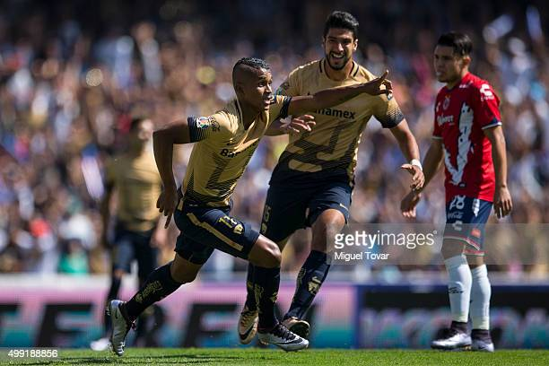 Fidel Martinez of Pumas celebrates after scoring the opening goal during the quarterfinals second leg match between Pumas UNAM and Veracruz as part...