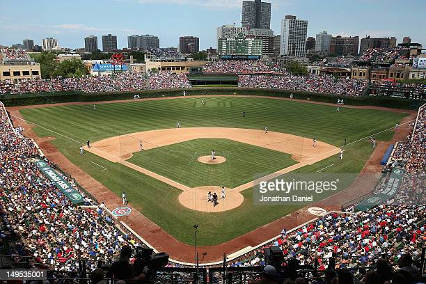 A field design of the number 10 honoring former Chicago Cub the late Ron Santo is seen in center field as the Cubs take on the St Louis Cardinals at...