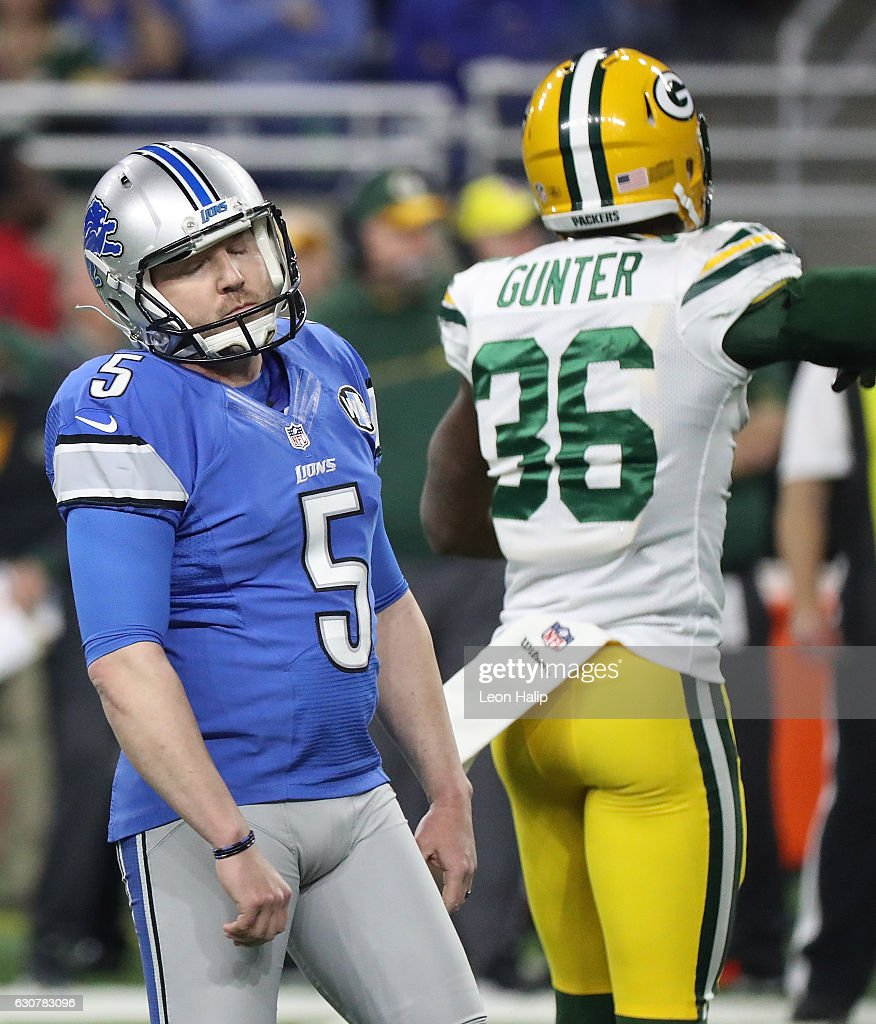 Field goal kicker Matt Prater #5 of the Detroit Lions reacts after missing a field goal attempt against the Green Bay Packers during second half action at Ford Field on January 1, 2017 in Detroit, Michigan.