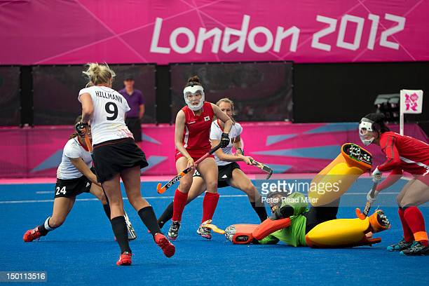 2012 Summer Olympics South Korea goalie Soo Ji Jang in action vs Germany during Women's Classification 78 Match at Riverbank Arena London United...