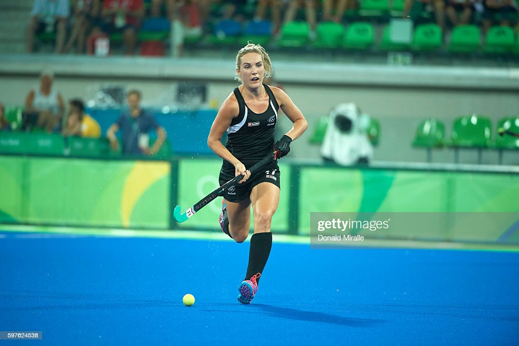 2016 Summer Olympics New Zealand Sophie cocks in action vs Great Britain during Semifinals match at the Olympic Hockey Centre Rio de Janeiro Brazil...