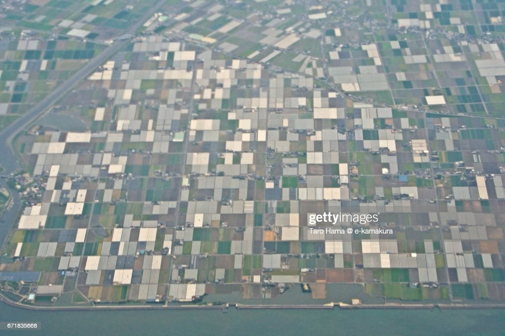 Field in Yatushiro city aerial view from airplane : ストックフォト