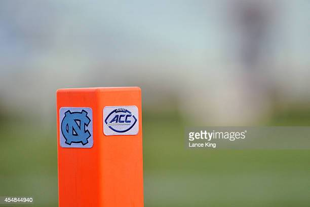 A field marker with the North Carolina and ACC logo is seen during a game between the San Diego State Aztecs and the North Carolina Tar Heels on...