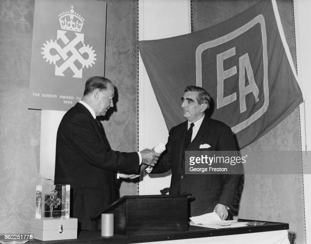 Field Marshal Harold Alexander 1st Earl Alexander of Tunis the Lord Lieutenant of Greater London presents the Queen's Award for Industry to Sir Leon...