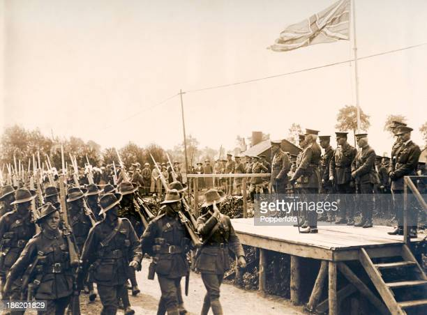 Field Marshal Herbert Plumer reviewing the troops on the British Western Front during World War One circa 1915