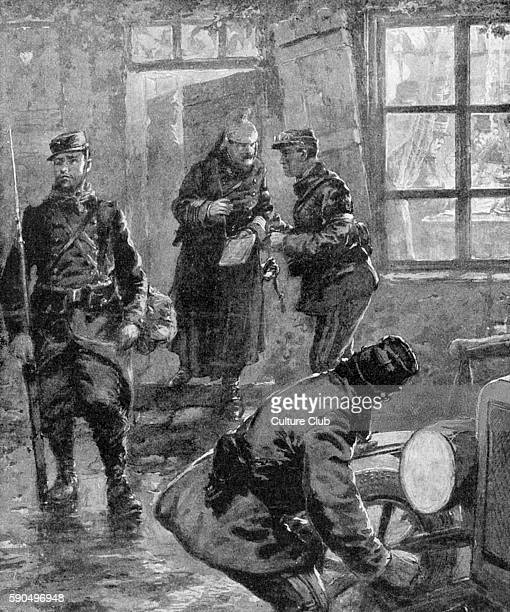 Field Marshal John Denton Pinkstone French and General Joseph Joffre directing operations at the front stationed inside an abandoned farmhouse After...