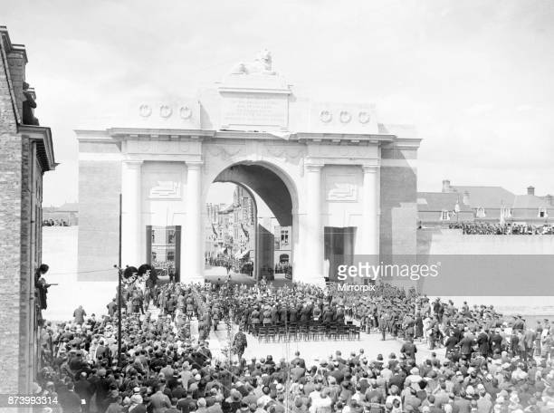 Field Marshal Lord Plumer under the arch of the memorial to the 54000 missing British and Commonwealth soldiers lost on the battlefield of the Ypres...