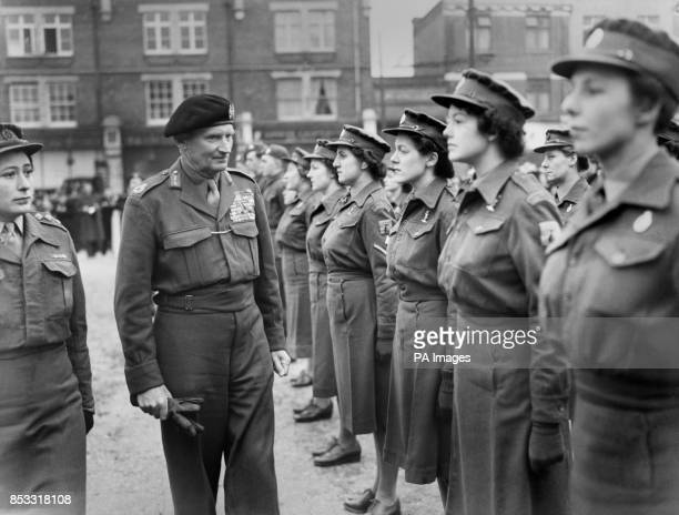 Field Marshal Viscount Montgomery inspecting members of the Women's Royal Army Corps on his arrival to receive the Freedom at the Regal Cinema...