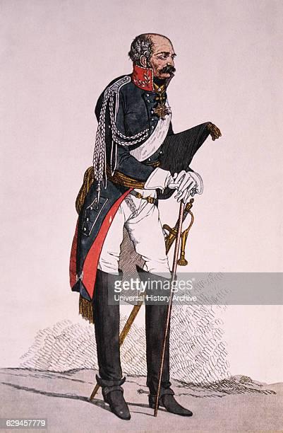 Field Marshall Gebhardt Leberecht von Blucher Prussian Military Leader Color Drawing by Denis Deighton 1814