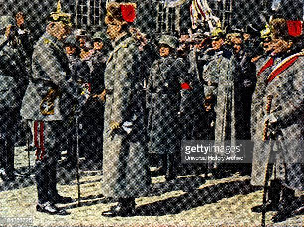 Field Marshall Paul Von Hindenburg greets the former Cron Prince of Germany 192224