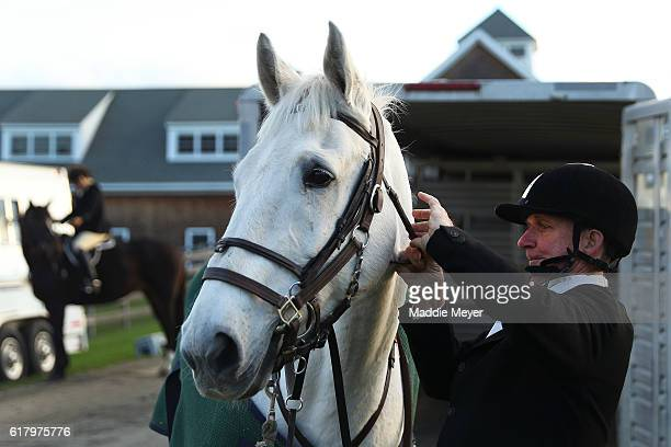 Field Master of the Hill Toppers Douglas Mahoney prepares his horse Henry for the fox hunt at Kitty Crossing Farm on October 25 2015 in Rowley...