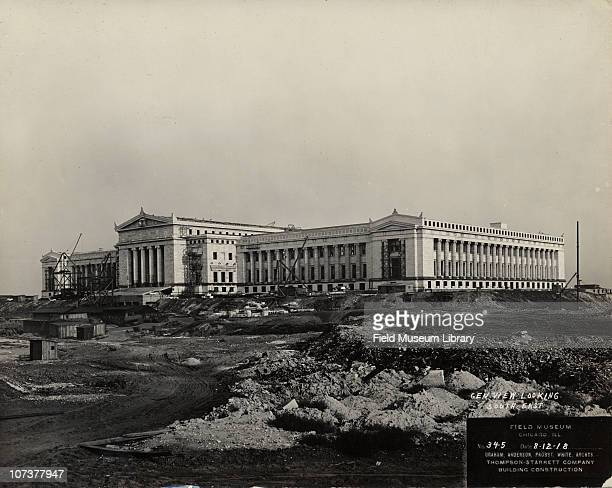 Field Museum construction site general view looking south east shows north and west sides of nearly completed building Chicago Illinois August 12 1918