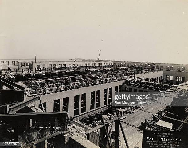 Field Museum construction site view from roof looking north east Chicago Illinois May 4 1918