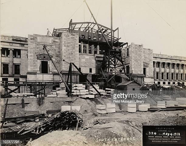 Field Museum construction site view of south entrance workers' wood shed shack or building Chicago Illinois May 4 1918