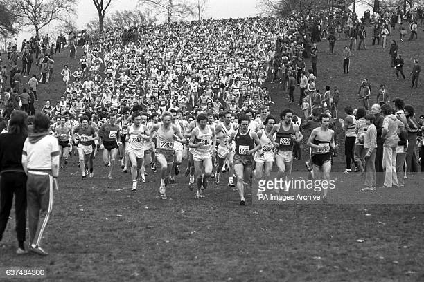 A field of 1500 runners at the start of the English Cross Country Championships race at Parliament Hill Fields The eventual winner Brendan Foster...