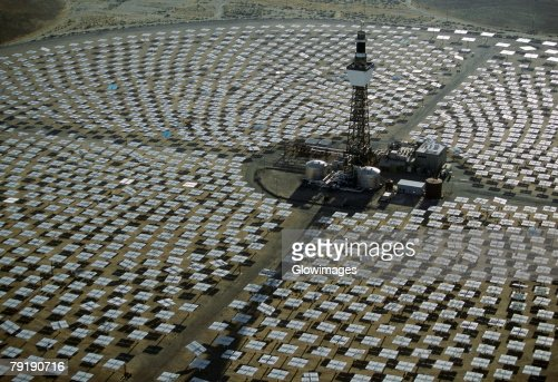Field of solar-power 10 megawatt heliostat mirrors, Daggett, California : Stock Photo