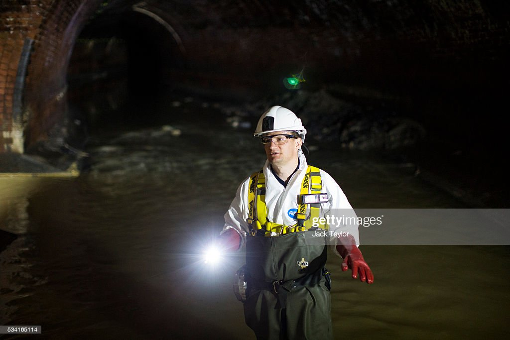 Field operations manager Nick Fox pictured in the Northern Outfall Sewer at Wick Lane depot on May 25, 2016 in London, England. The sewer was designed by British engineer Joseph Bazalgette following the 'Great Stink' of 1858 and is today worked on by sewer technicians known as 'Flushers'. Thames Water marks Sewage Week this week with a series of events inviting members of the public down into the underground sewer network and around the Abbey Mills pumping station in east London.