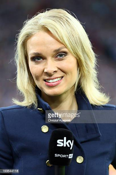 Field reporter Britta Hofmann of sky poses during the Bundesliga match between FC Schalke 04 and VfL Wolfsburg at VeltinsArena on October 6 2012 in...