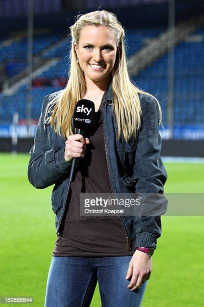 Field reporter Ruth Hofmann of sky television channel pose prior to the Second Bundesliga match betweeen VfL Bochum and 1 FC Kaiserslautern at...