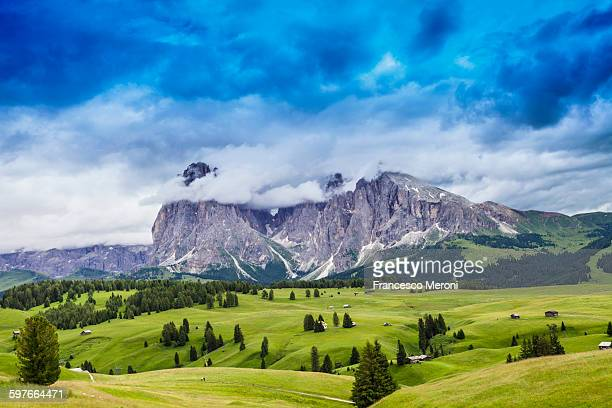 Fields and distant rock formation, Dolomites, Italy