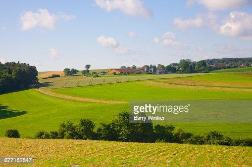 Fields surrounding Main River in Bavaria, Germany
