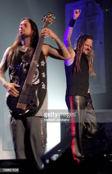 Fieldy and Jonathan Davis of Korn during Korn 'See The Other Side' Concert at the Hammerstein Ballroom in New York City November 29 2005 at...