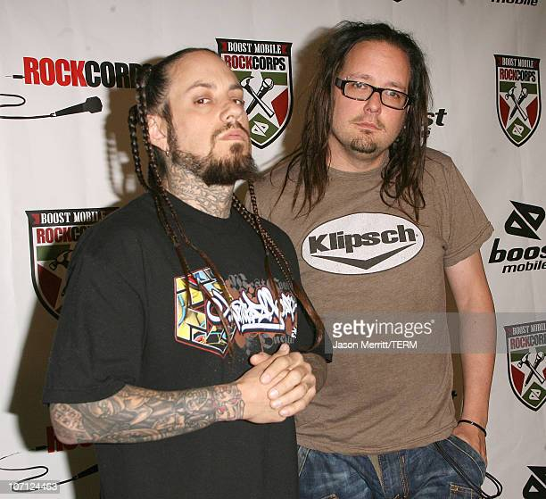 Fieldy and Jonathan Davis of Korn during Nick Cannon Young Jeezy Korn The Game and Rise Against Perform for 3000 Youth Volunteers at Boost Mobile...