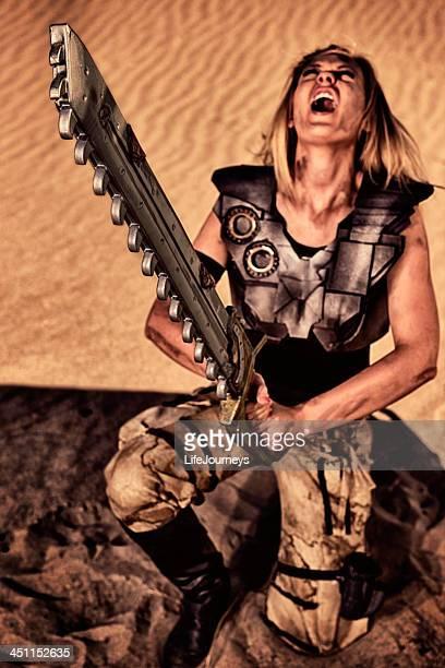Fierce Amazon Warrior Queen Sounding The Call Of Victory