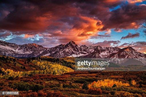 Fiery Autumn Sunset : Stock Photo