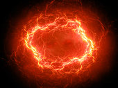 Fiery glowing spherical high energy plasma lightning in space, computer generated abstract background, 3D rendering