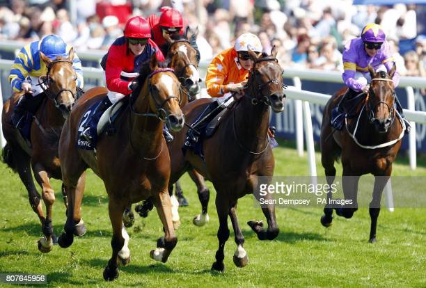 Fiery Lad ridden by Kieren Fallon goes on to win the Ivestec challenge handicap during Ladies Day at Epsom Downs Racecourse Surrey Picture date...