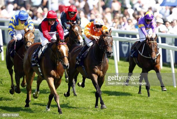 Fiery Lad ridden by Kieren Fallon goes on to win the Ivestec challenge handicap during Ladies Day at Epsom Downs Racecourse Surrey