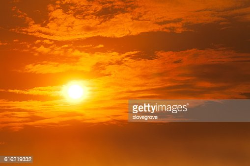 Fiery orange sunset : Stock Photo