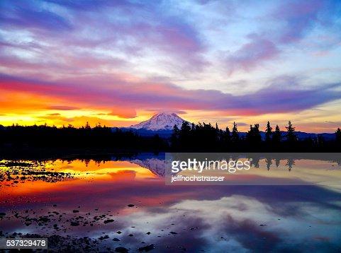 Fiery Sunrise Over Mt. Rainier