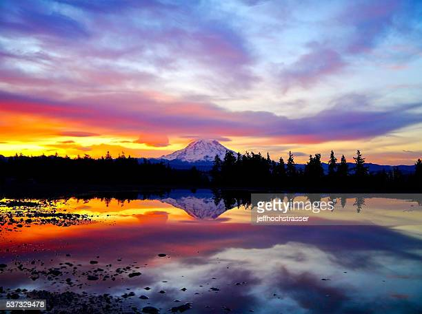 Fiery Sunrise Over Mt. Rainier