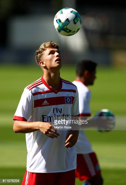 Fiete Arp controls the ball during a training session of Hamburger SV at Volksparkstadion on July 9 2017 in Hamburg Germany