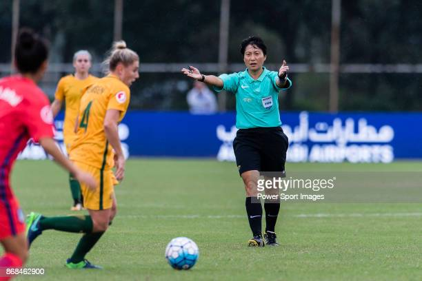 Fifa Referee Qin Liang gestures during their AFC U19 Women's Championship 2017 Group Stage B match between South Korea and Australia at Jiangsu...
