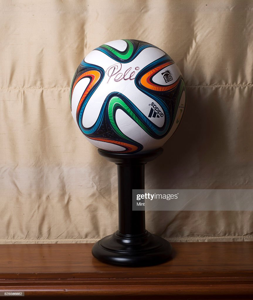 Fifa World Cup football with Pele signature at an office of Natarajan Chandrasekaran, CEO of Tata Consultancy Services on May 15, 2015 in Mumbai, India.