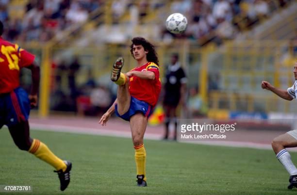 Fifa World Cup Yugoslavia v Colombia Leonel Alvarez of Colombia kicks the ball clear