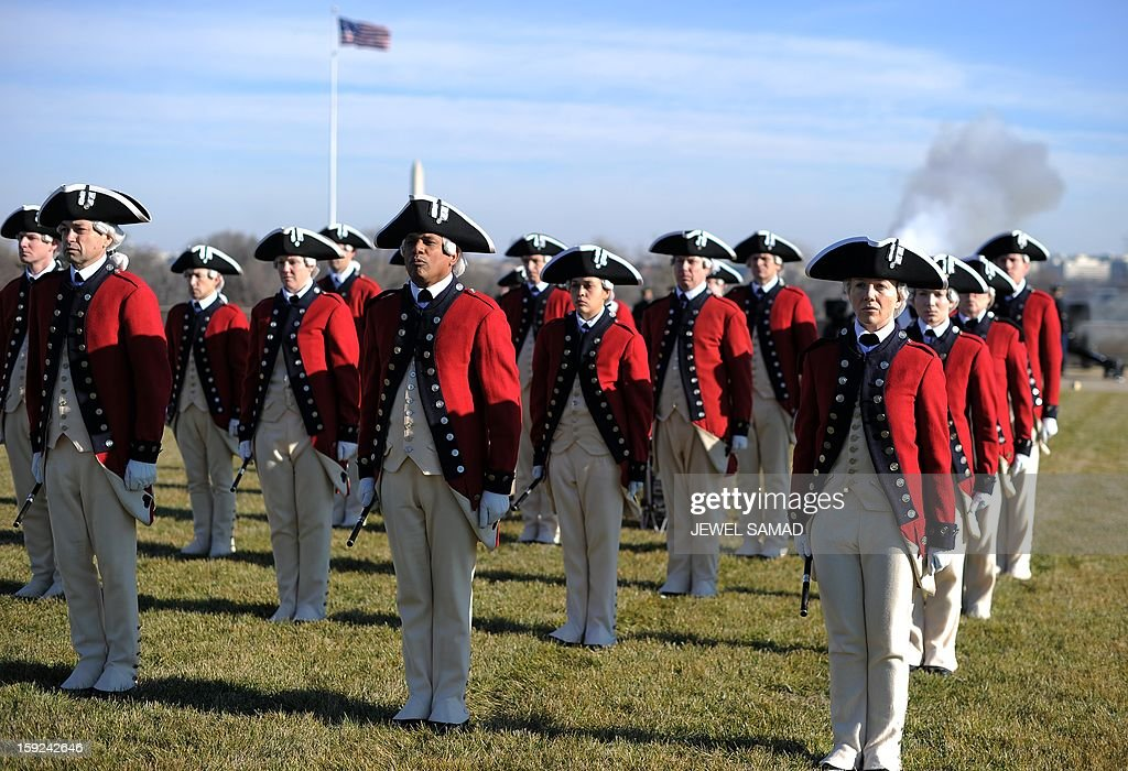 Fife and Drum Corps participate in a ceremony to welcome Afghan President Hamid Karzai at the Pentagon before his meeting with US Secretary of Defense Leon Panetta in Washington, DC, on January 10, 2013. AFP PHOTO/Jewel Samad