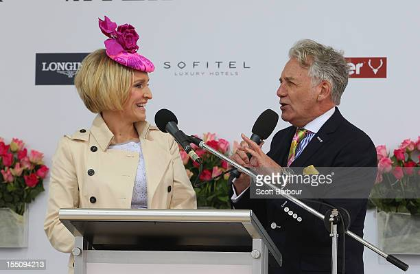 Fifi Box Channel Seven presenter and Jeff Banks Myer Designer speak during the 2012 Melbourne Cup Carnival Myer Fashions On The Field Enclosure...