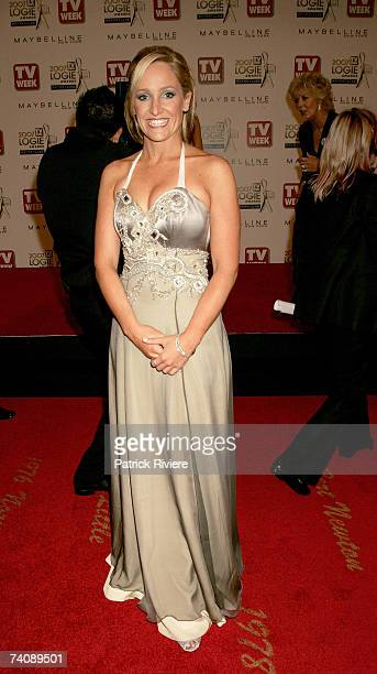 Fifi Box has her dress fixed by Patti Newton on the red carpet at the 2007 TV Week Logie Awards at the Crown Casino on May 6 2007 in Melbourne...