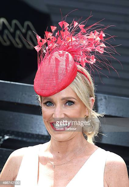 Fifi Box poses at the Southern Cross Austereo marquee on Oaks Day at Flemington Racecourse on November 5 2015 in Melbourne Australia