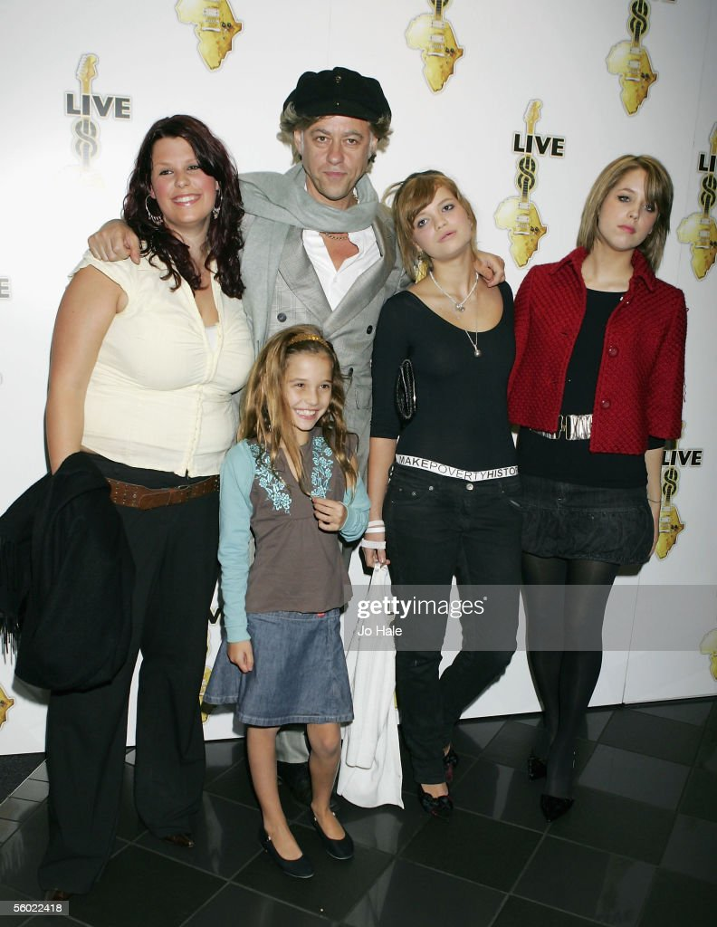 Fifi Trixibell Geldof; Tiger Lilly Geldof; Peaches Geldof; Pixie Geldof; Bob Geldof attends the global premiere for the Live 8 DVD, featuring live footage of the MAKEpovertyHISTORY awareness-raising concerts on July 2, at Vue West End on October 27, 2005 in London, England.