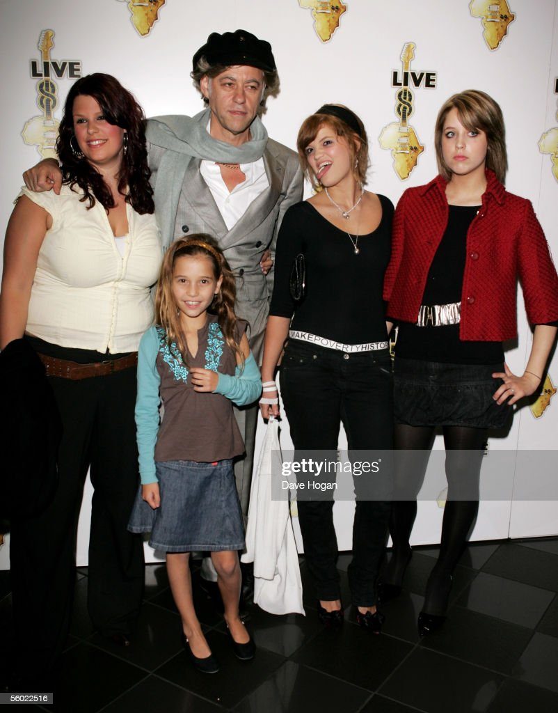 Fifi Trixibell Geldof, Tiger Lily Hutchence Geldof (front), Bob Geldof, Pixie Geldof and <a gi-track='captionPersonalityLinkClicked' href=/galleries/search?phrase=Peaches+Geldof&family=editorial&specificpeople=211378 ng-click='$event.stopPropagation()'>Peaches Geldof</a> attend the global premiere for the Live 8 DVD, featuring live footage of the MAKEpovertyHISTORY awareness-raising concerts on July 2, at Vue West End on October 27, 2005 in London, England.